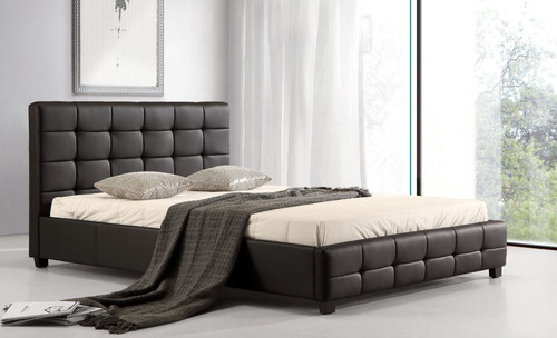 QUEEN (ING-QBGC) LEATHERETTE DELUXE  BED FRAME  - BLACK OR BROWN