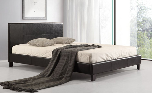 QUEEN (ING-QBFB-BLACK) LEATHERETTE   BED   - BLACK