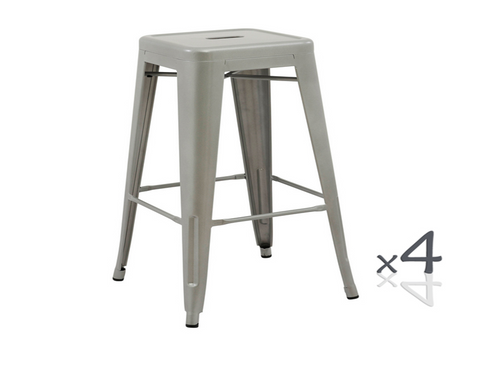 TOLIX RETRO SET OF 4  CAFE BAR STOOLS (ZWF-4CBS-30)  - SEAT 750(H) - SILVER