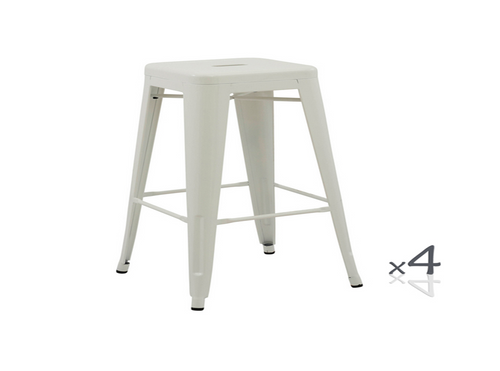 TOLIX RETRO  SET OF 4 BAR STOOLS - SEAT: 750(H) -  (ZWF-4CBS-30)  - WHITE