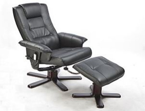 LEATHERETTE (LDF-5009) MASSAGE CHAIR RECLINER WITH OTTOMAN AND REMOTE - BLACK
