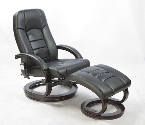 WALLEN DELUXE LEATHERETTE (LDF-5001)  RECLINER MASSAGE CHAIR  WITH FOOT REST AND REMOTE - BLACK