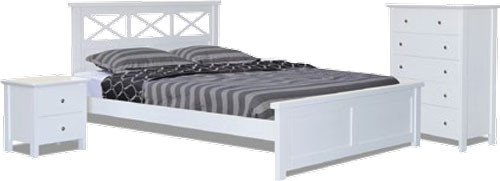 TWISTER QUEEN 3 PIECE BEDSIDE BEDROOM SUITE (3306) WITH NICKY BEDSIDES - WHITE