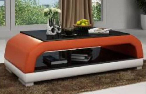 OZ COFFEE TABLE (MODEL-CT9001)   - 420(H) X 1300(W) X 700(D) - FULL LEATHERETTE + 2 TEMPERED GLASS - ASSORTED COLOURS