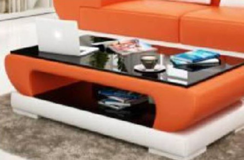 MAX COFFEE TABLE (MODEL-CT9002)   -420(H) X 1200(W) X 700(D) -  FULL LEATHERETTE + 2 TEMPERED GLASS - ASSORTED COLOURS