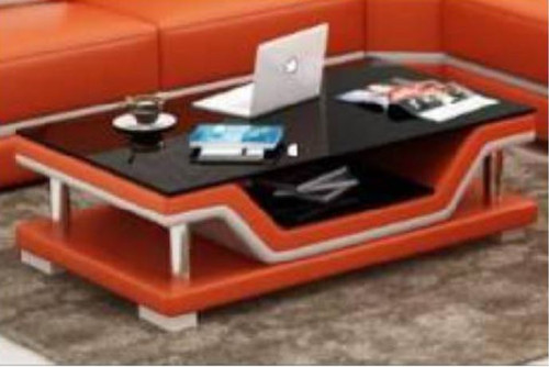 LAMI COFFEE TABLE (MODEL-CT9003)   - FULL LEATHERETTE + 2 TEMPERED GLASS - 420(H) X 1200(W) X 700(D)  - ASSORTED COLOURS