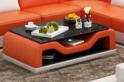 JAMB COFFEE TABLE (MODEL-CT9004)   - FULL LEATHERETTE + 2 TEMPERED GLASS -420(H) X 1200(W) X 700(D) -  ASSORTED COLOURS