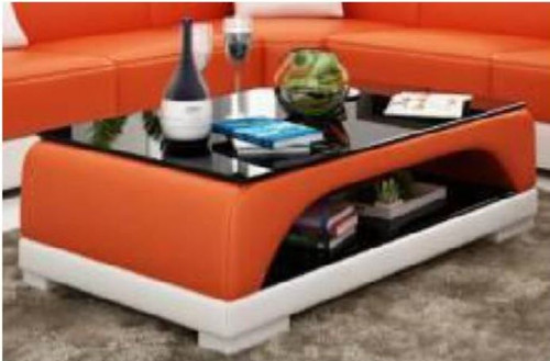 NAMA COFFEE TABLE (MODEL-CT9005)   - FULL LEATHERETTE + 2 TEMPERED GLASS - 420(H) X 1200(W) X 700(D) - ASSORTED COLOURS