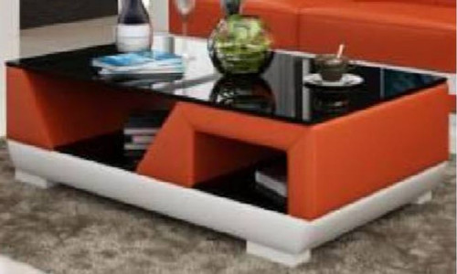 OPA COFFEE TABLE (MODEL-CT9007)  -  FULL LEATHERETTE + 3 x TEMPERED GLASS -  420(H) X 1200(W) X 700(D)  - ASSORTED COLOURS