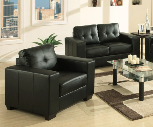 MANHATTAN 2 SEATER + 1 SEATER + 1 SEATER LEATHERETTE LOUNGE SUITE - BLACK