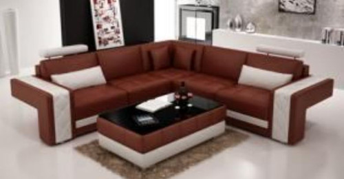 HEBRONA  CORNER LOUNGE( MODEL-G1117B) IN BONDED LEATHER + PVC - CHOICE OF LEATHER AND ASSORTED COLOURS AVAILABLE