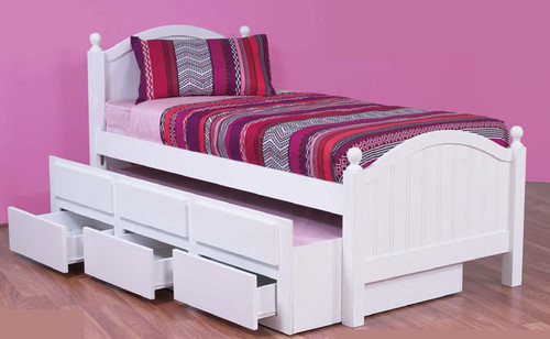 SINGLE KELLY CAPTAINS BED WITH STORAGE & SINGLE TRUNDLE - ARCTIC WHITE