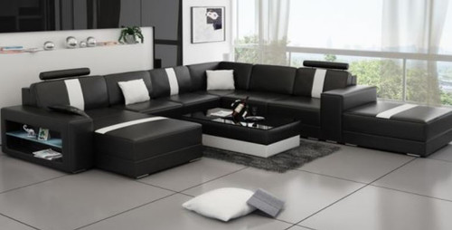 KINSANI BONDED LEATHER CHAISE LOUNGE SUITE ( MODEL- G1114) - CHOICE OF LEATHER AND ASSORTED COLOURS AVAILABLE