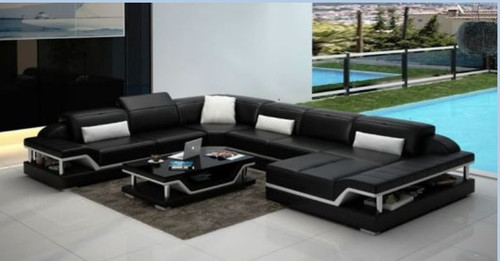 SARA BONDED LEATHER CHAISE LOUNGE SUITE( MODEL-G1110) - CHOICE OF LEATHER AND ASSORTED COLOURS AVAILABLE
