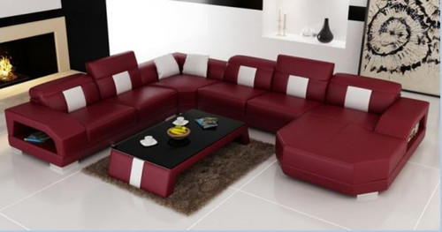 VIVA  BONDED LEATHER CHAISE LOUNGE SUITE( MODEL- G1104) - CHOICE OF LEATHER AND ASSORTED COLOURS AVAILABLE