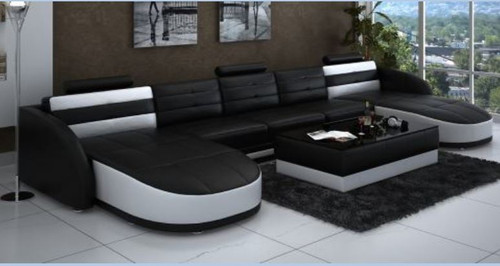 PERZIN  BONDED LEATHER DOUBLE CHAISE LOUNGE SUITE( MODEL- G1095B) - CHOICE OF LEATHER AND ASSORTED COLOURS AVAILABLE