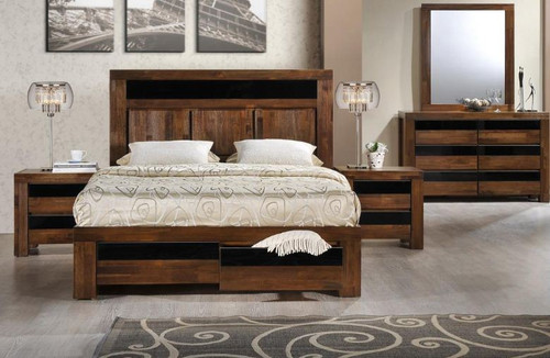 TOLEDO (TOLBRS) QUEEN 5 PIECE DRESSER BEDROOM SUITE - ANTIQUE COFFEE STAIN
