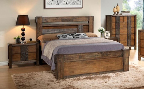 MELROSE KING 4 PIECE BEDROOM SUITE (IM-1488) (MODEL 9-18-15-14-2-1-18-11) - CHOCOLATE (DARKER THAN PICTURED)