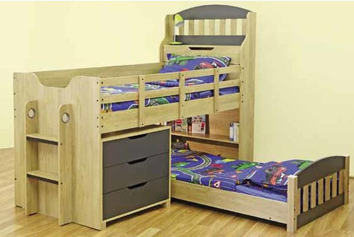 SINGLE OVER SINGLE TOBY CABIN BUNK WITH LOW SINGLE BED AND 3 DRAWERS CHEST - OAK / CHARCOAL