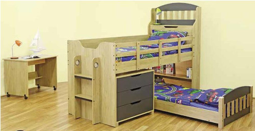 SINGLE OVER SINGLE TOBY CABIN BUNK WITH LOW SINGLE BED, DESK AND 3 DRAWER CHEST - OAK / CHARCOAL