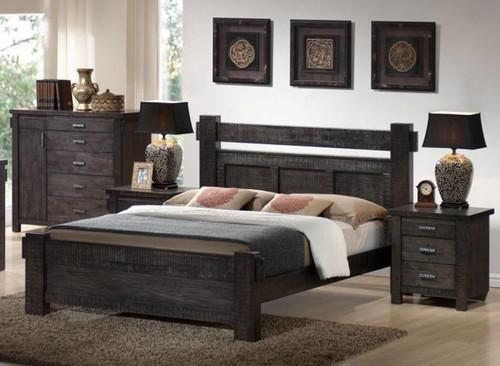 SEATTLE KING 3 PIECE BEDSIDE BEDROOM SUITE - STEEL  BLUE