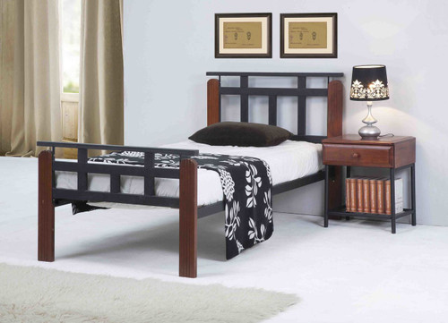QUEEN JACOB TIMBER & METAL BED - ANTIQUE OAK / BLACK
