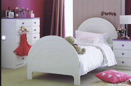 SINGLE OR KING SINGLE JORDAN 3 PIECE KIDS BEDROOM SUITE (JORSGLTBS )  - GLOSS WHITE