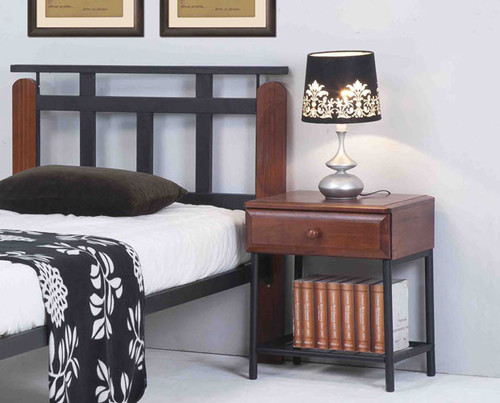 JACOB BEDSIDE - ANTIQUE OAK / BLACK