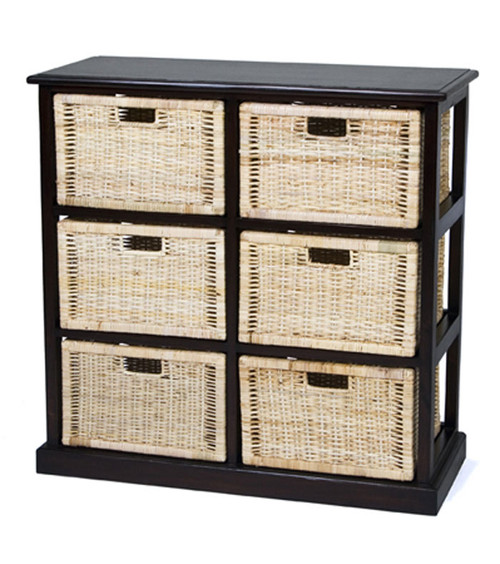 BALINESE VERTICAL CANE STORAGE DRAWERS (DET706/V) WITH 6 DRAWERS - CHOCOLATE