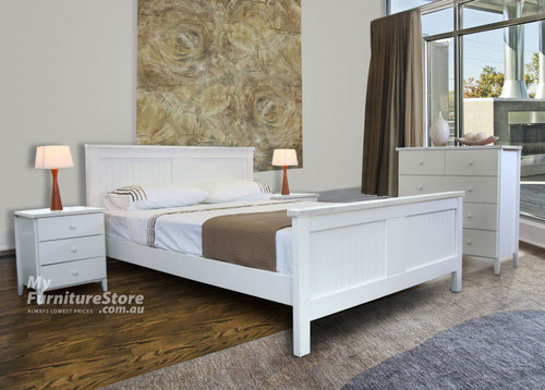 QUEEN PALACIO BED (MODEL 8-1-23-1-9-9) (QB-HAW) WITH LINDA UNDERBED STORAGE DRAWER - WHITE ONLY