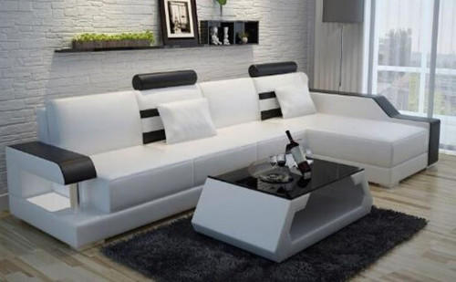 DENZI BONDED LEATHER CHAISE LOUNGE (MODEL-L6016C) WITH COFFEE TABLE  - CHOICE OF LEATHER AND ASSORTED COLOURS AVAILABLE