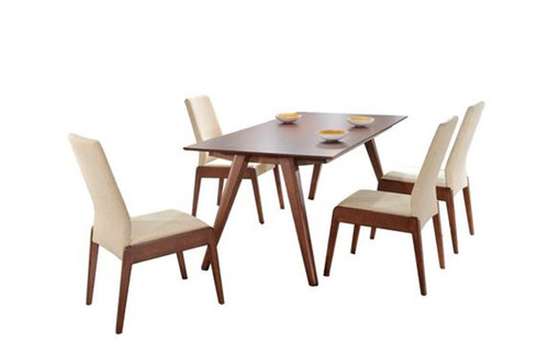 VANABE DELUXE 7 PIECE DINING  SET (MODEL- IV3084-IV1099) (Kit#076) - 1800(L) x 900(W) - ASH VENEER / CREAM