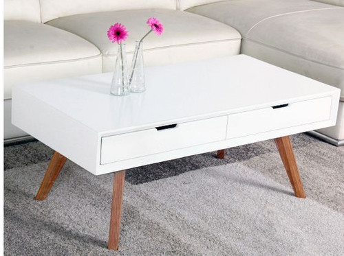 KELIN    COFFEE TABLE WITH 2 x DRAWERS  (MODEL-UCT4025)   -  SEMI - 450(H) X 1100(W) X 550(D) - GLOSS WHITE