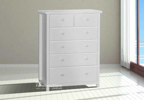 FEDERATION TALLBOY - 6 DRAWER (TOP SPLIT) - ASSORTED COLOUR STAINS (NOT WHITE, AS PICTURED)