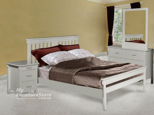 PARKVIEW (MODEL 18-15-13-1-14-25) DOUBLE OR QUEEN  5 PIECE DRESSER BEDROOM SUITE  - WHITE
