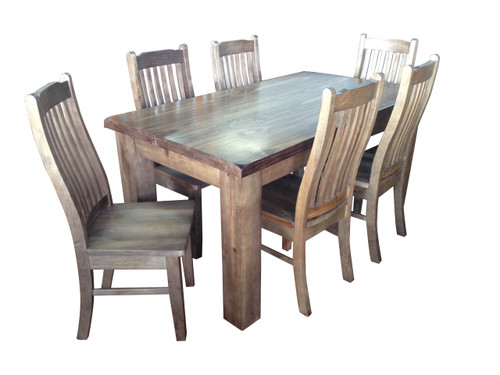 HERITAGE (HTG7P-1.8) 7 PIECE DINING SETTING (WITH 6 DINING CHAIRS) - 1800(L) x 900(W) - GREY WASH (#501)