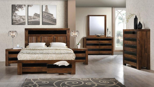 TOLEDO KING  6 PIECE- THE LOT  BEDROOM SUITE - ANTIQUE COFFEE STAIN