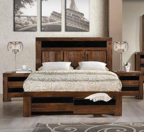 TOLEDO QUEEN 3 PIECE BEDSIDE   BEDROOM SUITE - ANTIQUE COFFEE STAIN
