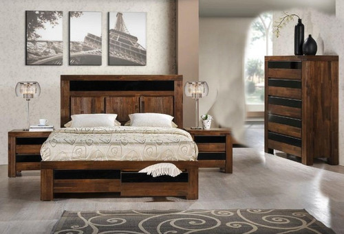 TOLEDO KING 4 PIECE TALLBOY BEDROOM SUITE - ANTIQUE COFFEE STAIN