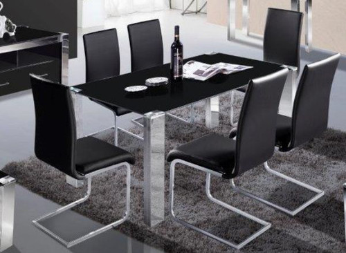 FRAN  7 PIECE DINING SET WITH GLASS  TABLE - 1080(W) x 1800(D)