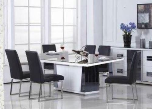 TORINO 7 PIECE DINING SETTING  - 2000(L) X 1000(W) - WHITE / BLACK