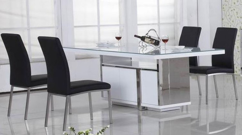 PALERMO 7 PIECE DINING SETTING   WITH RECTANGULAR TABLE - 2100(L) X 1000(W) - GLOSS WHITE /  BLACK