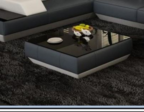 FINGO COFFEE TABLE (VC40) LEATHERETTE + TEMPERED GLASS - 420(H) X 800(W) X 800(D) - ASSORTED COLOURS