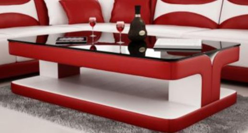 DIOR COFFEE TABLE (VC45) - LEATHERETTE + TEMPERED GLASS - 420(H) X 1200(W) X 700(D) - ASSORTED COLOURS