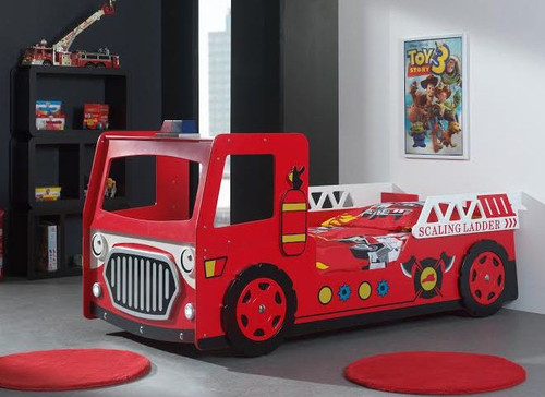 SINGLE FIRE ENGINE  CAR KID BED  WITH LED LIGHT -  RED