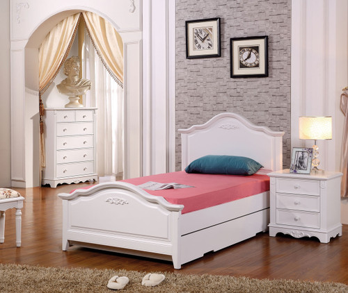SINGLE HARMONY (LS-015) BED WITH SINGLE UNDERBED TRUNDLE BED (MODEL 13-5-12-15-4-25) - IVORY WHITE