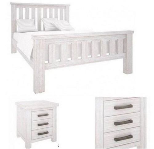 DENALI QUEEN 3 PIECE BEDSIDE BEDROOM SUITE (VAL-013) (MODEL 1-12-1-19-11-1) - BRUSHED  WHITE