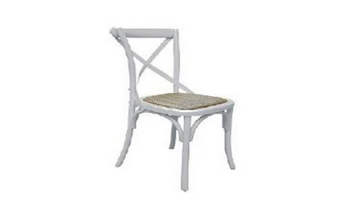 BARISTA (VBR-011) DINING CHAIR WITH RATTAN SEAT  - WHITE