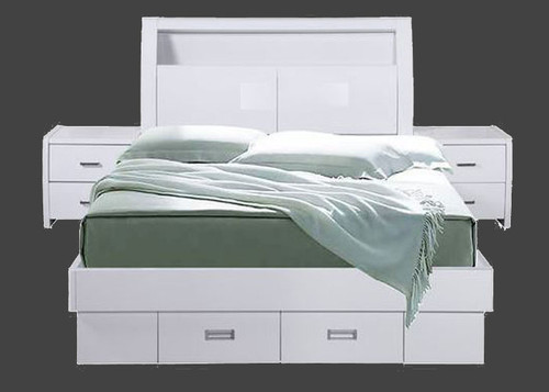 KING WAVERLEY BED WITH GAS LIFT AND TWO  FOOTEND DRAWERS - HI GLOSS WHITE