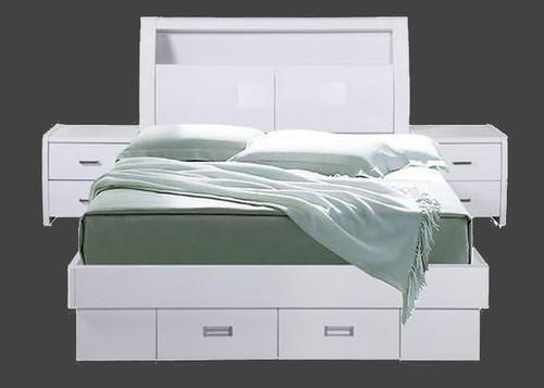 WAVERLEY DOUBLE OR QUEEN GAS LIFT 3 PIECE  BEDSIDE  BEDROOM  SUITE- HI GLOSS WHITE